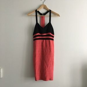 BEBE Color Block Racerback Sleeveless Dress